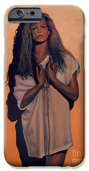 Person Paintings iPhone Cases - Kim Basinger iPhone Case by Paul  Meijering