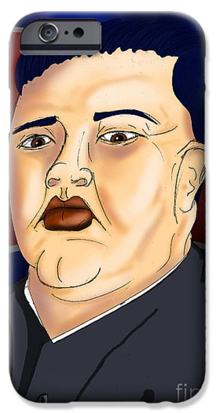 Kim Digital Art iPhone Cases - Kim Jong Un iPhone Case by Ironheart Illustrations