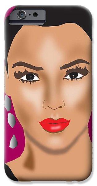 Kim Digital Art iPhone Cases - Kim Kardashian iPhone Case by Michael Chatman