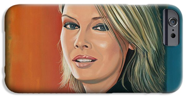 Close Paintings iPhone Cases - Kim Wilde iPhone Case by Paul  Meijering