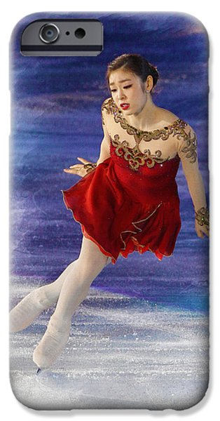 Kim Digital Art iPhone Cases - Yuna Kim performs during her farewell ice show  iPhone Case by Don Kuing