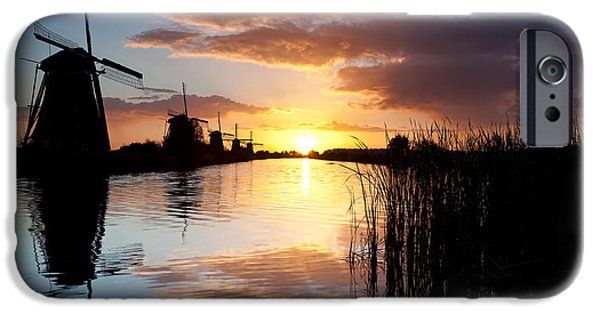 Dave iPhone Cases - Kinderdijk Sunrise iPhone Case by Dave Bowman