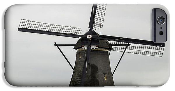 Historic Site iPhone Cases - Kinderdijk Windmill Anno 1740 Squared iPhone Case by Teresa Mucha