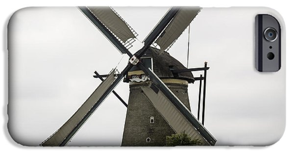 Historic Site iPhone Cases - Kinderdijk Windmill Museum Squared iPhone Case by Teresa Mucha