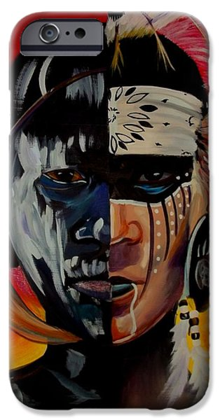 Native American Spirit Portrait iPhone Cases - Kindred Spirits I iPhone Case by Sherry Shiner