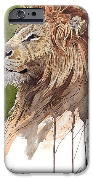 Lion Digital Art iPhone Cases - King iPhone Case by Aaron Blaise