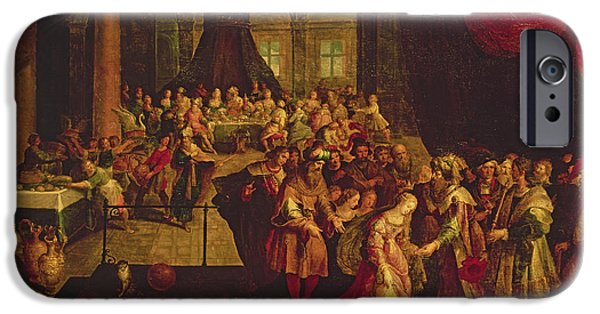 Old Testament iPhone Cases - King Ahasuerus Crowns Esther Oil On Canvas iPhone Case by Frans II the Younger Francken