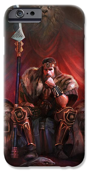 Celebrities Art iPhone Cases - King By His Own Hand iPhone Case by Steve Goad