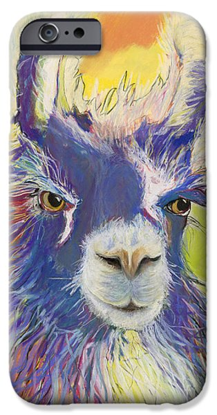 Llama iPhone Cases - King Charles iPhone Case by Pat Saunders-White