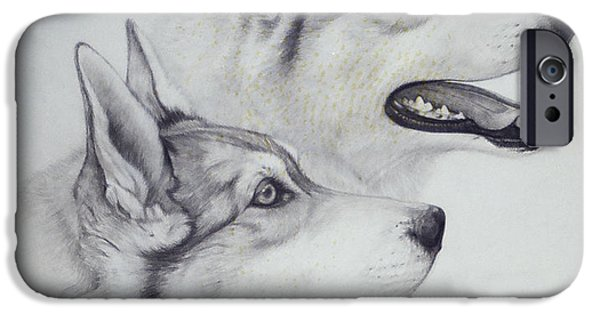 Husky Drawings iPhone Cases - King Dogs iPhone Case by Joey Nash