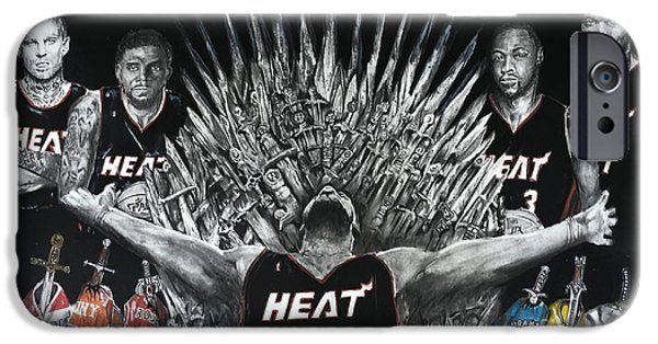 Lebron Drawings iPhone Cases - King James And His Court iPhone Case by S G Williams