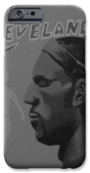 Lebron Mixed Media iPhone Cases - King James iPhone Case by Josh Miller