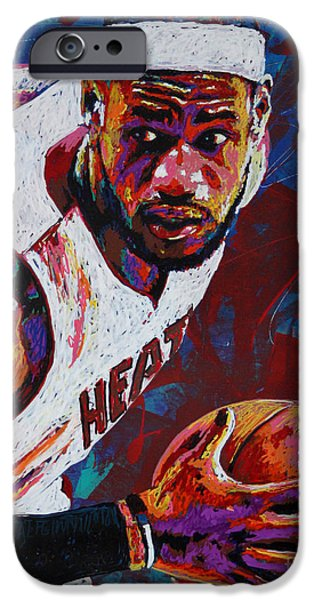 Lebron iPhone Cases - King James iPhone Case by Maria Arango