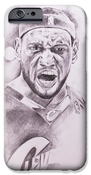 Lebron Drawings iPhone Cases - King James iPhone Case by Roderick Mance