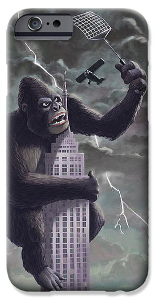 Empire State Digital iPhone Cases - King Kong Plane Swatter iPhone Case by Martin Davey