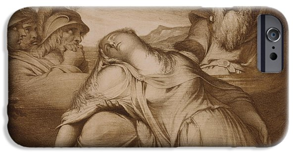 Mourning iPhone Cases - King Lear and Cordelia iPhone Case by James Barry