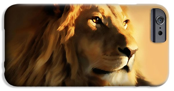 Animal Lover Digital iPhone Cases - King Lion Of Africa iPhone Case by Georgiana Romanovna