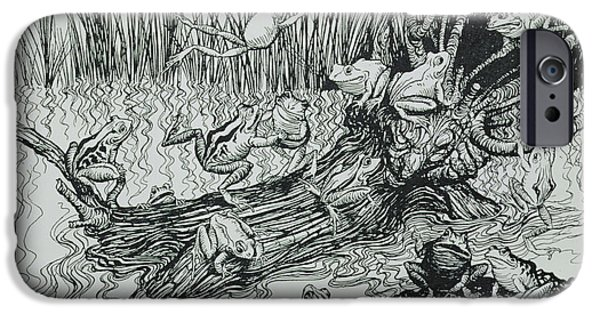 Fable iPhone Cases - King Log, Illustration From Aesops Fables, Published By Heinemann, 1912 Engraving iPhone Case by Arthur Rackham