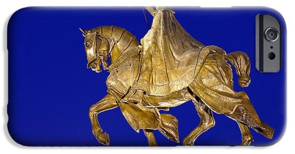 Statue Portrait Mixed Media iPhone Cases - King Louis IX iPhone Case by Jack Rainey