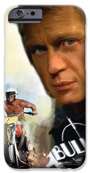 David iPhone Cases - Compelling Cool Steve McQueen iPhone Case by Iconic Images Art Gallery David Pucciarelli