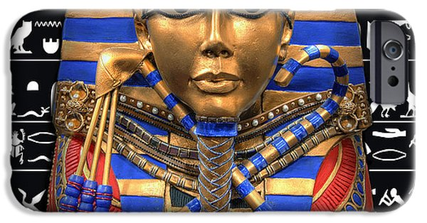 Horus Digital Art iPhone Cases - KING of EGYPT iPhone Case by Daniel Hagerman