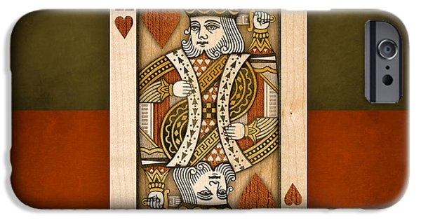 Chance iPhone Cases - King of Hearts in Wood iPhone Case by Yo Pedro