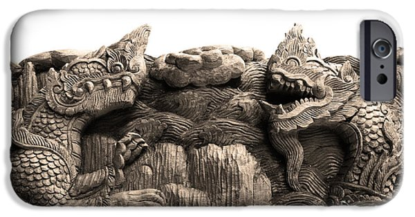 River Sculptures iPhone Cases - King Of Nagas And Kylin Carving On Teak iPhone Case by Pakorn Kitpaiboolwat