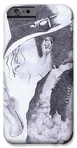 Michael Jackson Sketch iPhone Cases - King of Pop iPhone Case by Paul Smutylo