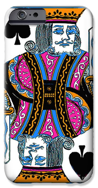 Wing Tong Digital iPhone Cases - King of Spades - v3 iPhone Case by Wingsdomain Art and Photography