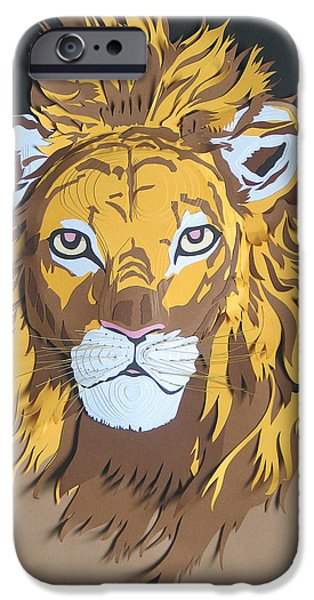 Paper Sculptures iPhone Cases - King Of The Jungle iPhone Case by John Hebb