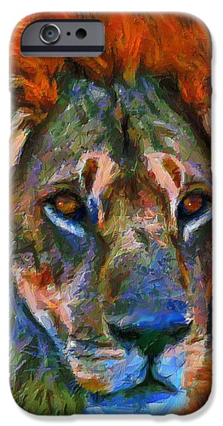 Abstract Expressionism Mixed Media iPhone Cases - King Of The Wilderness iPhone Case by Georgiana Romanovna