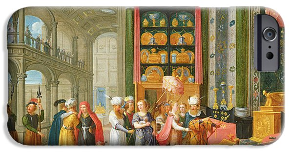 Balcony iPhone Cases - King Solomon And The Queen Of Sheba Oil On Copper iPhone Case by Adriaen van Stalbemt