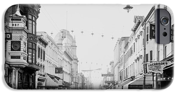 Old Photos iPhone Cases - King Street in Charleston South Carolina circa 1910 iPhone Case by Mountain Dreams