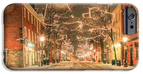 Snowy Night iPhone Cases - King Street iPhone Case by JC Findley