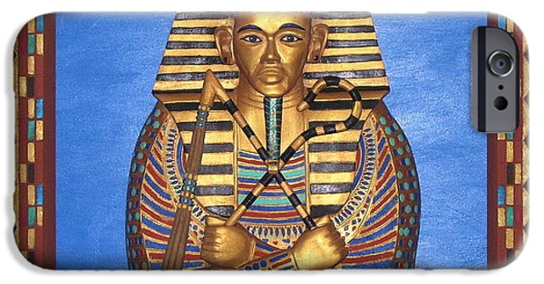 Michael Mixed Media iPhone Cases - KING TUT - Handcarved iPhone Case by Michael Pasko