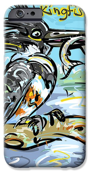 Snack Drawings iPhone Cases - Kingfisher iPhone Case by Brett LaGue