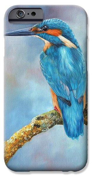 David iPhone Cases - Kingfisher iPhone Case by David Stribbling