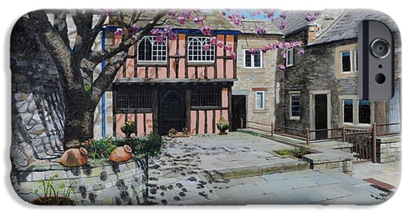 Peak iPhone Cases - Kings Court, Bakewell, Derbyshire, 2009 Oil On Canvas iPhone Case by Trevor Neal