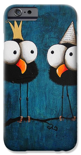 Whimsical Birds iPhone Cases - Kings for a day iPhone Case by Lucia Stewart