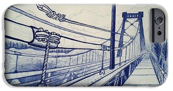 Suspension Drawings iPhone Cases - Kingston- Port Ewen Suspension Bridge iPhone Case by Jason Page