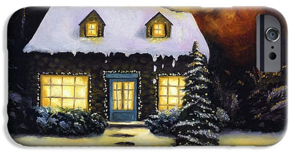 House iPhone Cases - Kinkades Worst Nightmare iPhone Case by Leah Saulnier The Painting Maniac