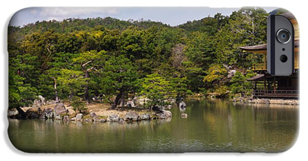 Buddhist iPhone Cases - Kinkaku-ji Temple of the Golden Pavilion in Kyoto panorama iPhone Case by Oleksiy Maksymenko
