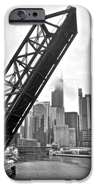High Park Fire iPhone Cases - Kinzie Street Bridge iPhone Case by Frozen in Time Fine Art Photography