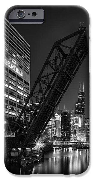 City Scape Photographs iPhone Cases - Kinzie Street railroad bridge at night in Black and White iPhone Case by Sebastian Musial
