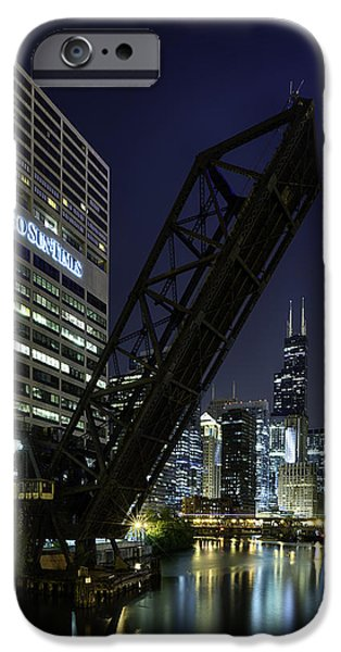 Sears Tower iPhone Cases - Kinzie Street railroad bridge at night iPhone Case by Sebastian Musial