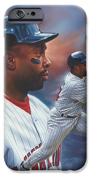 Minnesota iPhone Cases - Kirby Puckett Minnesota Twins iPhone Case by Dick Bobnick