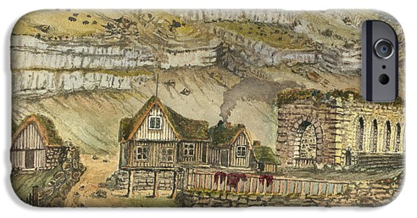 Denmark iPhone Cases - Kirk G boe Inn and ruins Faroe Island Circa 1862 iPhone Case by Aged Pixel