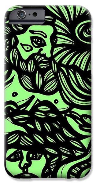 Zeus iPhone Cases - Kisiel Zeus Greek Mythology Green Black iPhone Case by Eddie Alfaro
