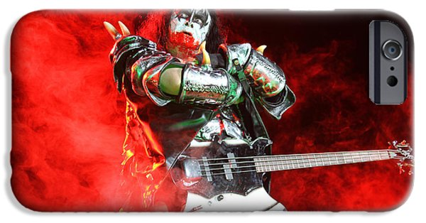 Glam Rock iPhone Cases - KISS - 40th Anniversary Tour Live - Bloody Simmons iPhone Case by Epic Rights
