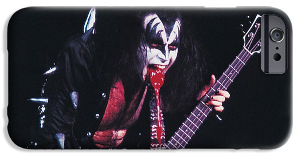 Bands On Stage iPhone Cases - KISS - Gene Simmons Blood 1973 iPhone Case by Epic Rights
